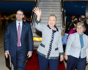 Secretary of State Hillary Clinton arriving in Jerusalem in November of 2012.