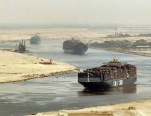 A tanker passes through the Suez Canal in Egypt.