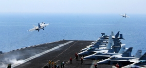 F/A-18 Hornets launching from the USS George Bush, via Defense.gov