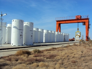 Nuclear waste being stored above ground, via Sandia National Labs