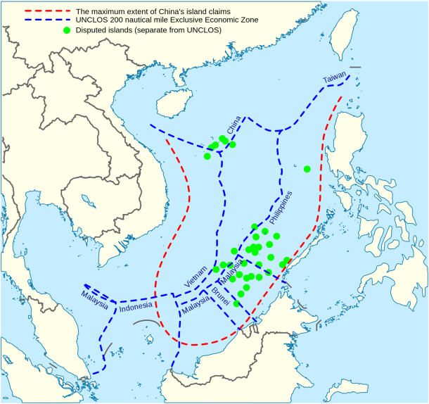 Map comparing UNCLOS defined territory and China's claims.
