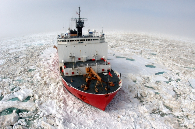 BARROW, Alaska- The U.S. Coast Guard Cutter Healy, a 420 ft. icebreaker homeported in Seattle, Wash., breaks ice in support of scientific research in the Arctic Ocean. The Healy is mid-way through a four month deployment. U.S. Coast Guard photo by Petty Officer Prentice Danner.