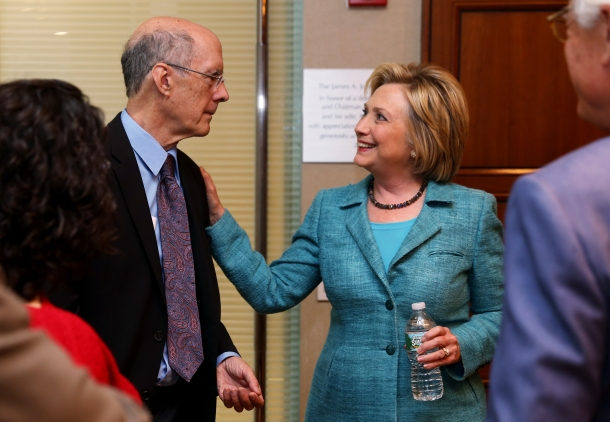 "Strobe Talbott greets Hillary Clinton before Brookings event, ""Hillary Clinton addresses the Iran nuclear deal"""