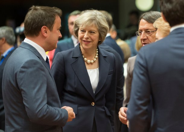 British Prime Minister Theresa May at the European Union Council meeting in Brussels.